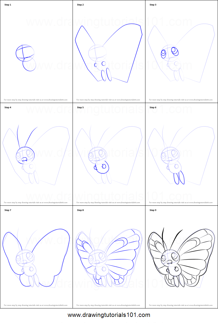 How To Draw Butterfree From Pokemon Printable Step By Step Drawing Sheet Drawingtutorials101 Com Drawing Sheet Easy Pokemon Drawings Pokemon Drawings