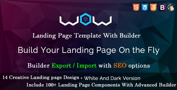 Webdev. Lv wow landing page template with page builder.