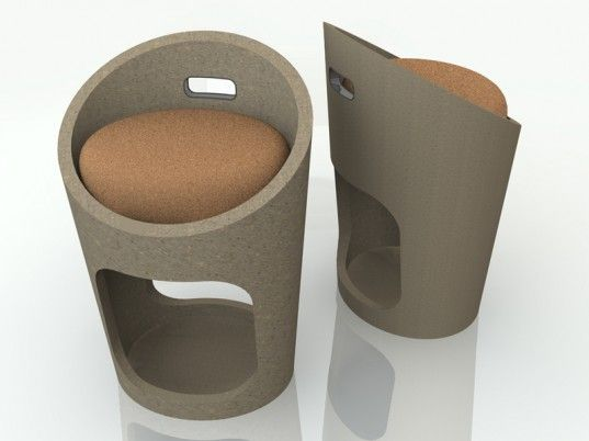 With the ability to betransformedinto furniture, signage, displays and more, Ecor is an amazing moldable material made from recycled cardboard, old newsprint, and a variety of fibers, including those collected from cow pies. By adding heat and pressure