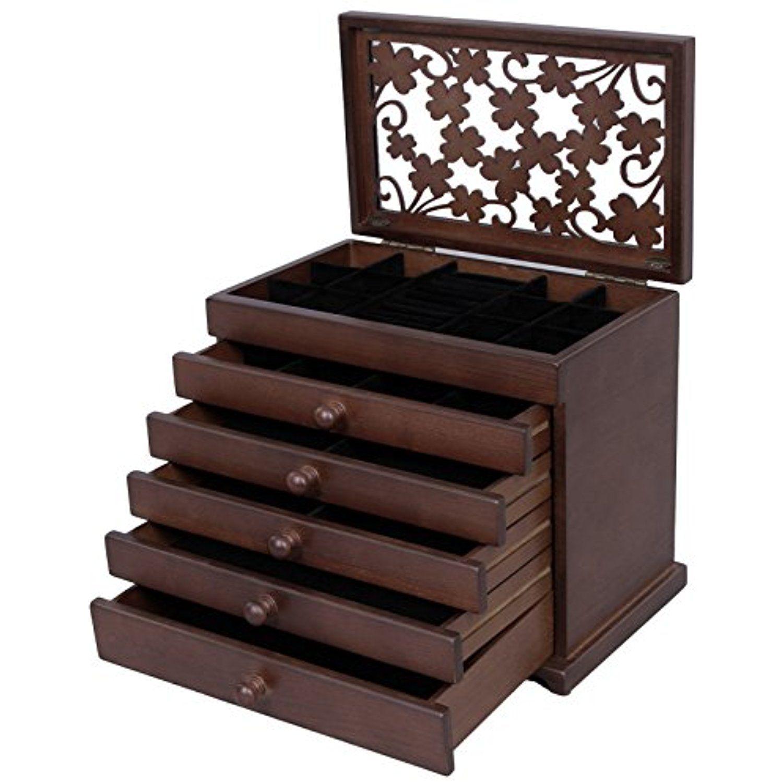 Songmics 6 Layers Jewelry Storage Box Large Jewelry Organizer Wooden