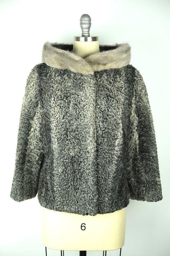 1ad6fbed617 Vintage 50s Fur Coat   1950s Grey Persian Lamb and Mink Fur