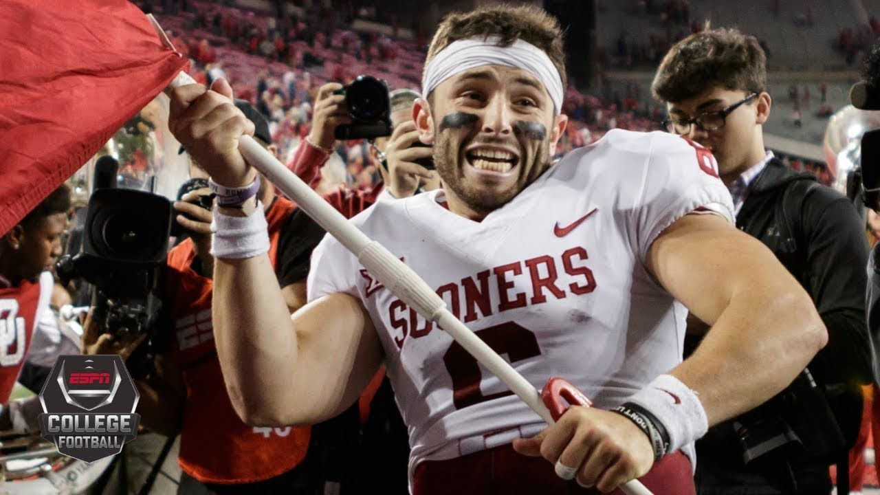Baker Mayfield Plants Oklahoma S Flag At Midfield After Ohio State Upset College Football On Espn Youtube Ohio State College Football Ohio State Football