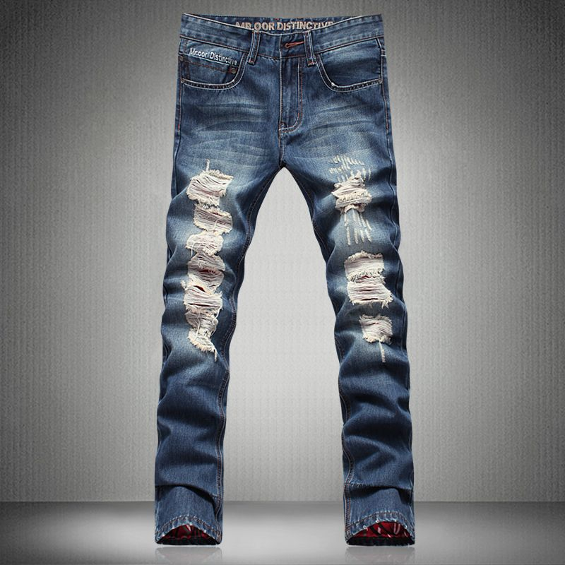 ab83e9270b 2016 Hot Fashion Men Jeans New Vintage Fashion Design Motorcycle Hole Torn  Denim Trousers Slim Fit. Pantalon SlimPantalones AjustadosVaqueros Para ...