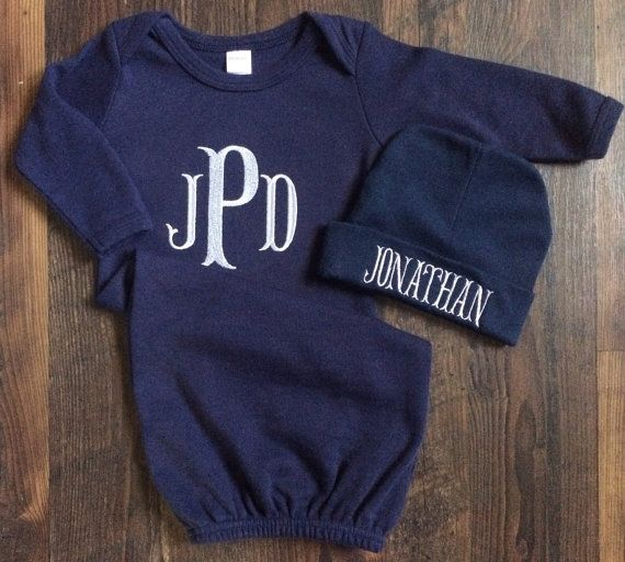 Boy Coming Home Outfit / Monogrammed Baby Boy Gown / Navy Set / Navy ...