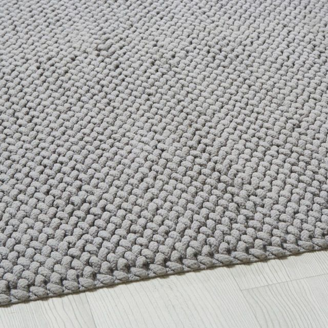 Tappeto in cotone intrecciato grigio, 140x200 cm nel 2020