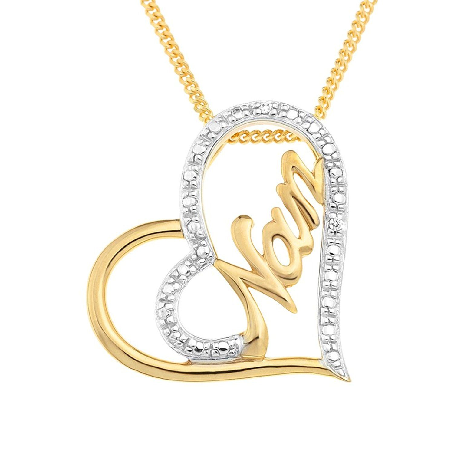Ornami Gold Plated Silver CZ Heart Shape 'Love' Message Pendant 46cm Chain u6xywX7Oor
