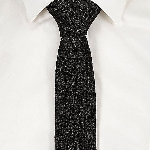 Discount Black sparkly knit tie No.1149 - Click Image to Close