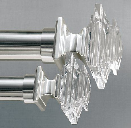 Estate Crystal Square Finials Set Of 2 Silver Crystal