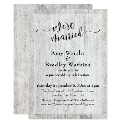Rustic Weathered Wood Post Wedding Celebration Card