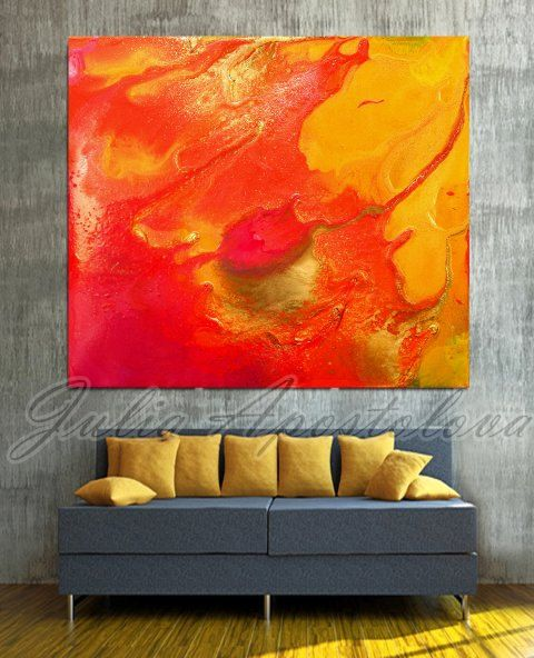 Orange Abstract Print, Painting, Red, Yellow, Orange Painting, Modern  Abstract Art, Large Wall Art, Summer, Orange Home Decor, Contemporary