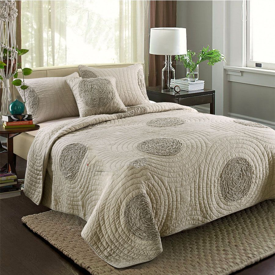 Chausub Cotton Quilt Set 3pcs Quality Bedding Quilts Quilted Bedspread Bed Cover King Queen Size Coverlet Champagne White