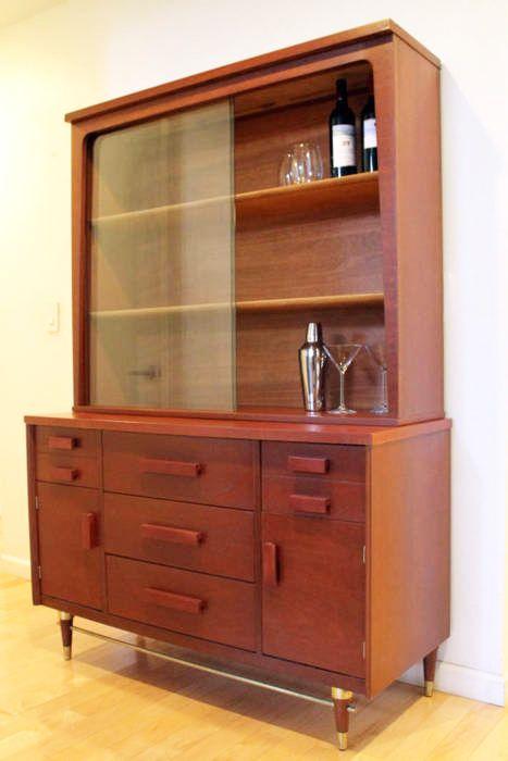 Midcentury Modern Mahogany China Cabinet By Bassett Furniture