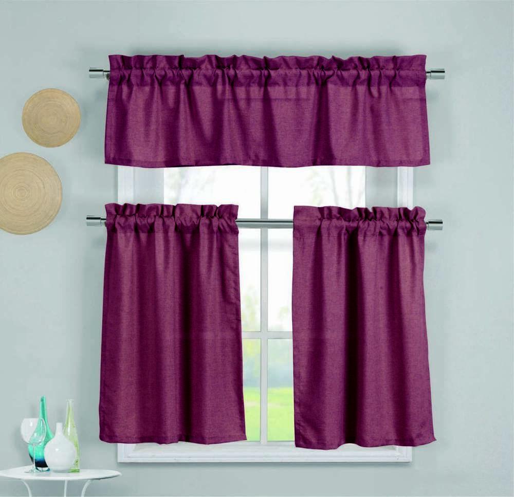 Premium Faux Silk Kitchen Window Curtain Drape Tier & Valance Swag ...