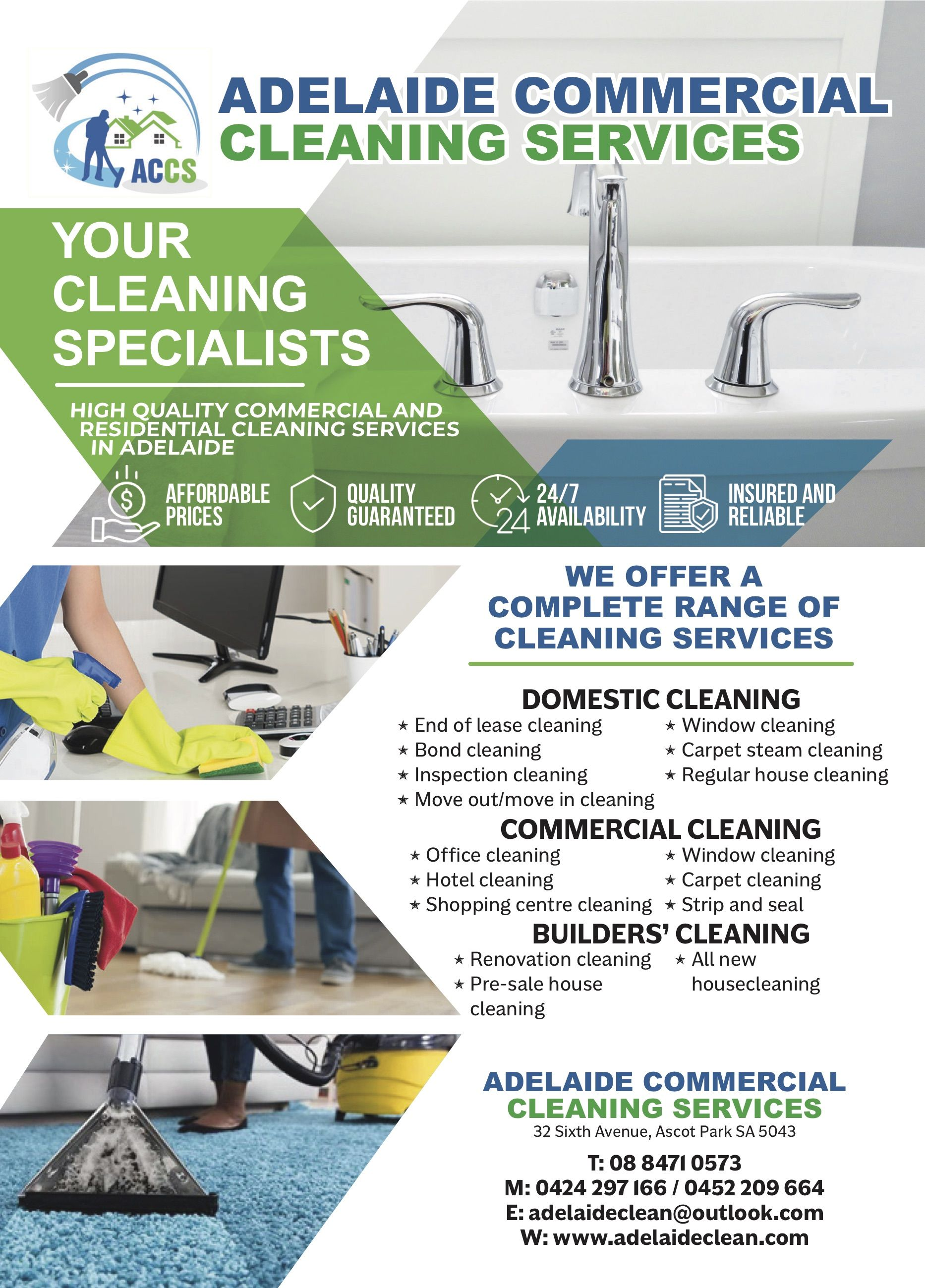 A5 flyer for adelaide commercial cleaning services