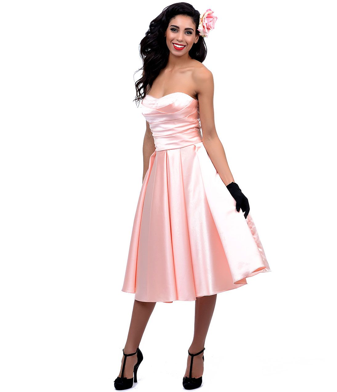 Unique vintage soft peach satin u tulle charade swing dress