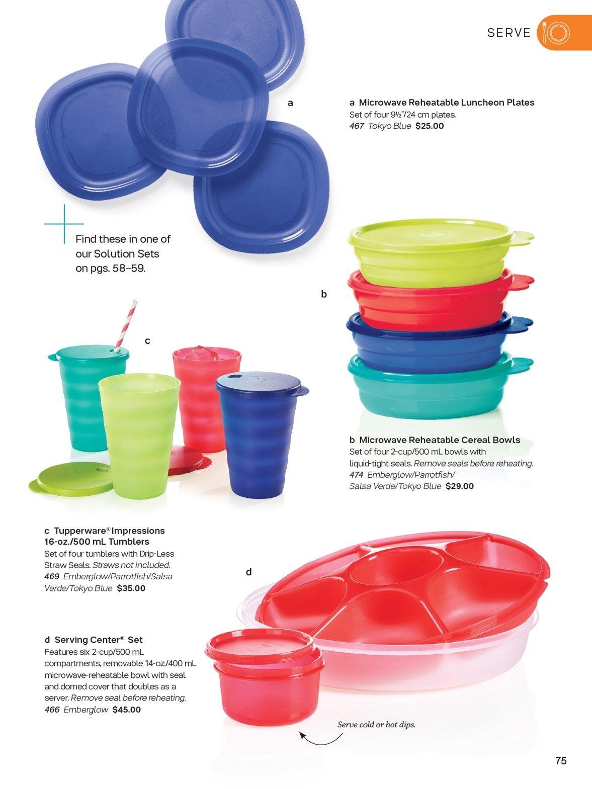 Tupperware Impressions Cereal Bowls /& Seals Set Of 4 Light Blue 16oz New