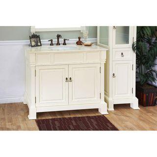 Olivia 42 Inch Cream White Wood Bathroom Vanity | Overstock.com Shopping    Great Deals On Bellaterra Home Bathroom Vanities