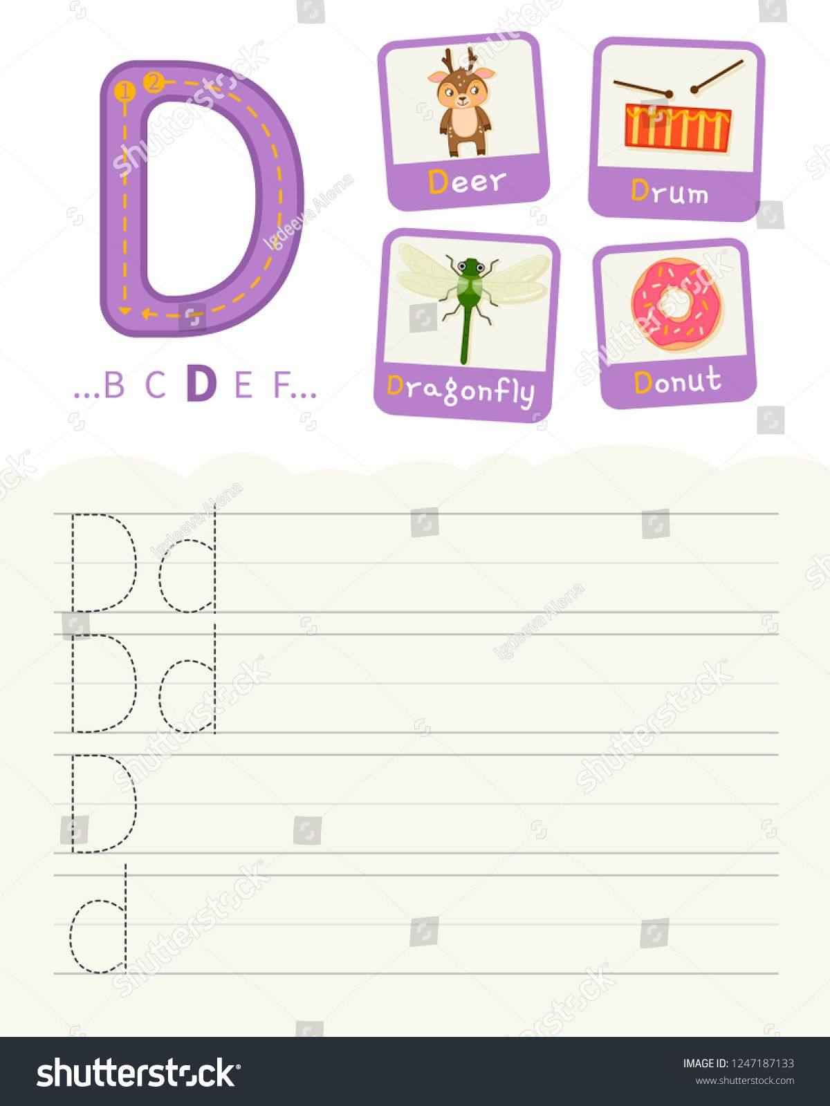 Handwriting practice sheet. Basic writing. Educational game for children. Learning the letters of the English alphabet. Cards with objects. Letter D. ,