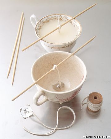Make candles in tea cups