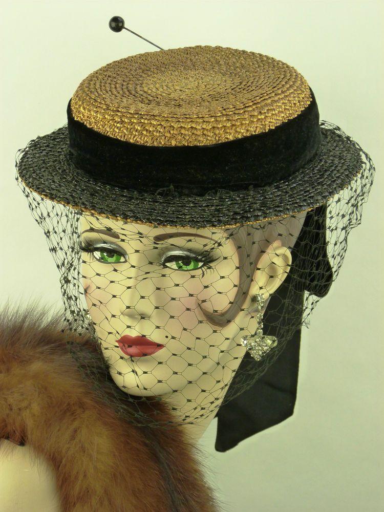 VINTAGE HAT 1900s VICTORIAN STRAW BOATER TILT BLACK VELVET RIBBON VEIL & HATPIN | eBay