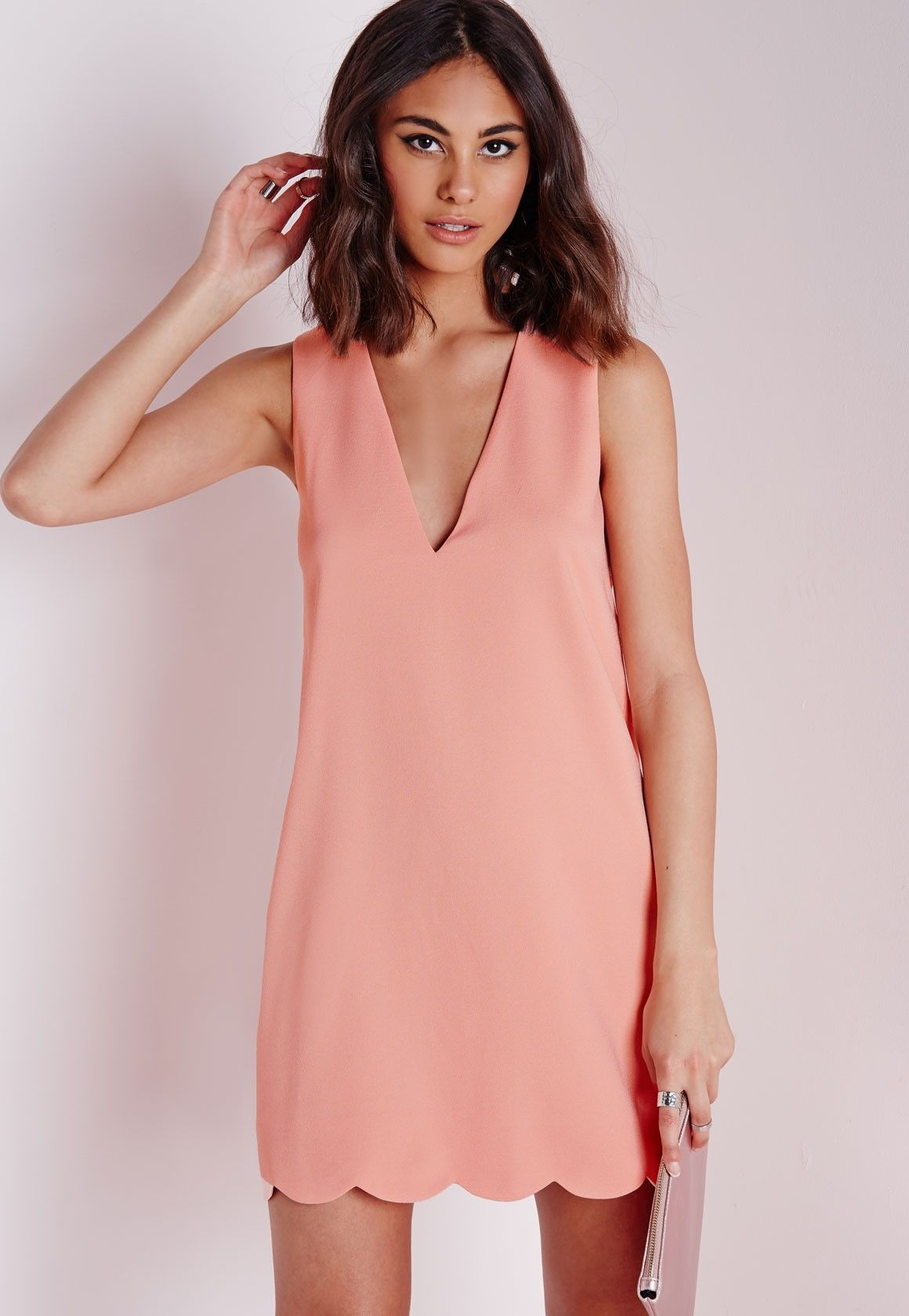 9dc2194ab3 Crepe Plunge Scallop Hem Shift Dress Blush - Dresses - Shift Dresses -  Missguided