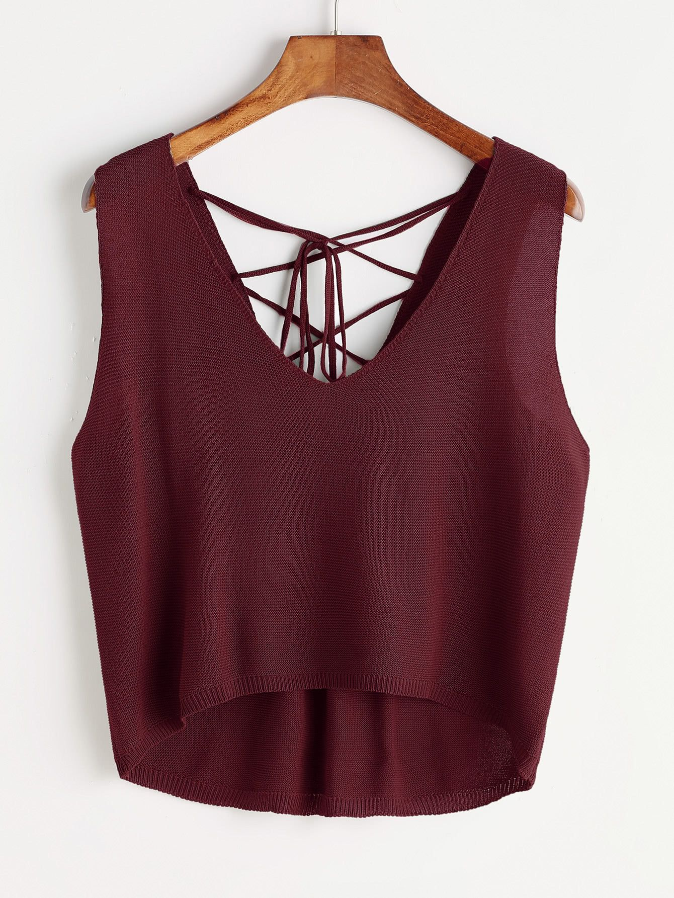 ed3ed5afd5210 Shop Dip Hem Lace Up Self Tie Back Tank Top online. SheIn offers Dip Hem  Lace Up Self Tie Back Tank Top   more to fit your fashionable needs.