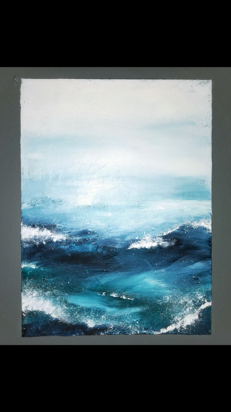 Abstract Seascape Waves Acrylic On Canvas Ocean Painting Abstract Canvas Seascape Paintings