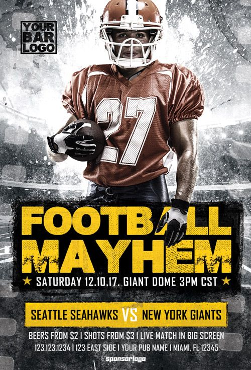 Football Mayhem Vol 2 Flyer Template -    ffflyer - football flyer template