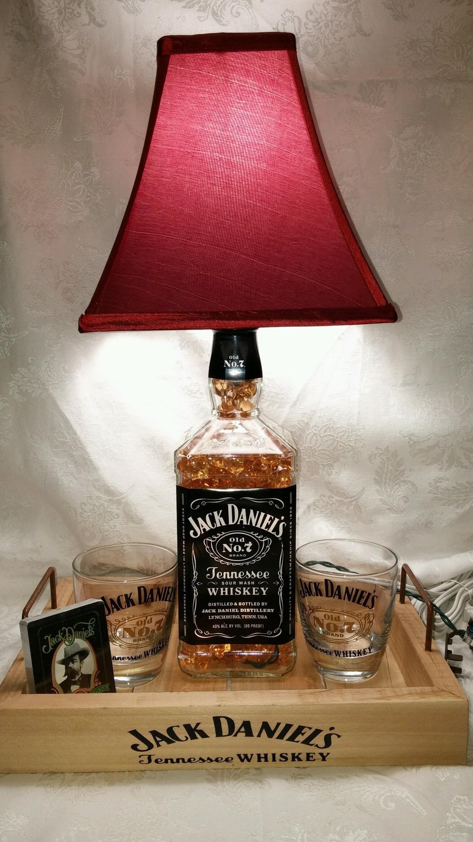 Jack Daniels 1 75 Liter Whiskey Bottle Light Lamp Bar Decorations Glasses Playing Cards Amber Lighting Wedding Anniversary Gift In 2020 Bottle Lights Jack Daniels Bottle Liquor Bottle Lamp