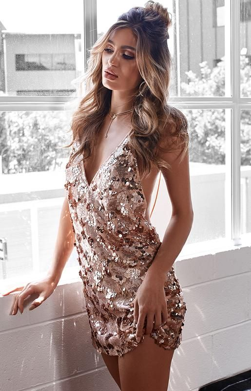 946b434a7d Palazzo Sequin Mini Dress Rose Gold | Vestidos sexys in 2019 ...