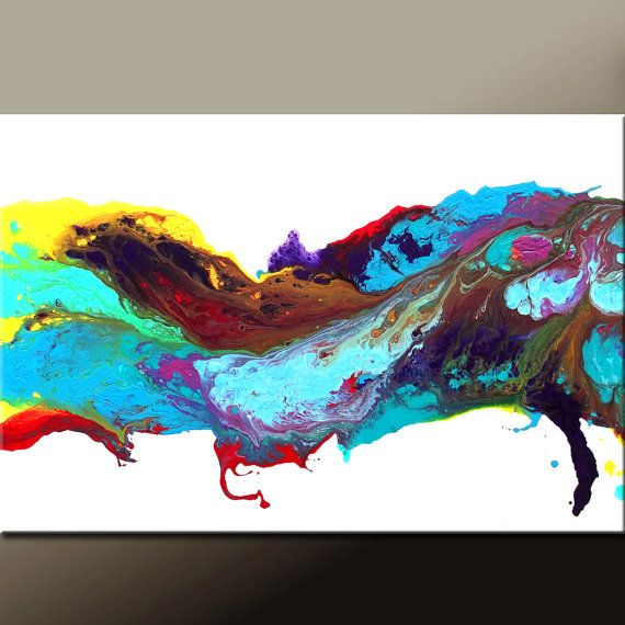 At the Rainbows End  - Abstract Modern Art Painting 36x24 Original by wostudios on Etsy, $149.00