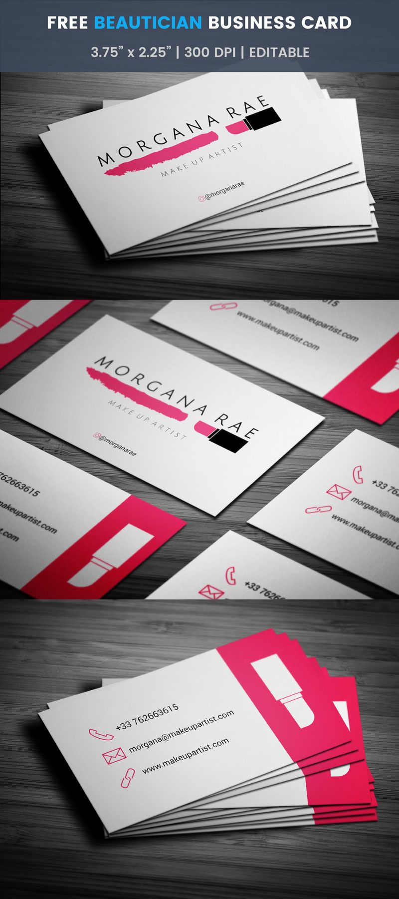 Makeup salon business card full preview free business card makeup salon business card full preview reheart Images