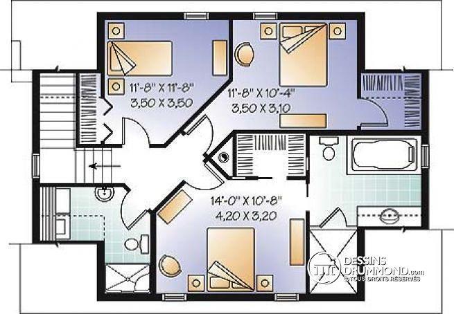 W3935-V1 - Joli chalet ou maison de style campagnard, avec garage - idee de plan de maison