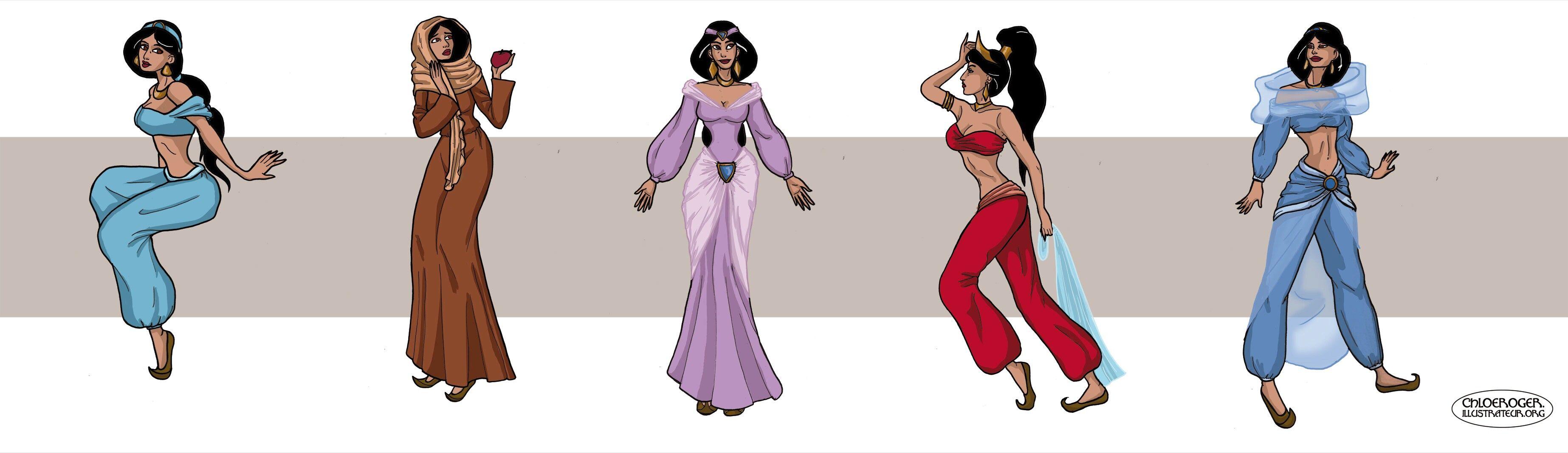 Jasmine clothes changes by lataupinette deviantart aladdin