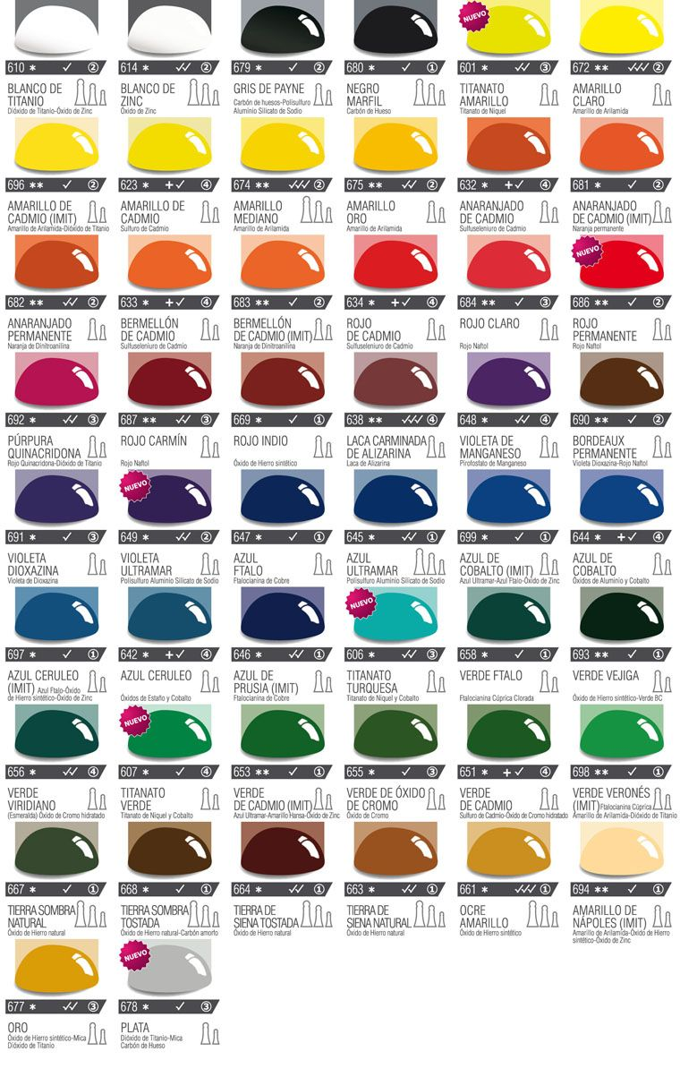 Carta de colores de leos alba art stica materiales - Gama de colores de pinturas ...