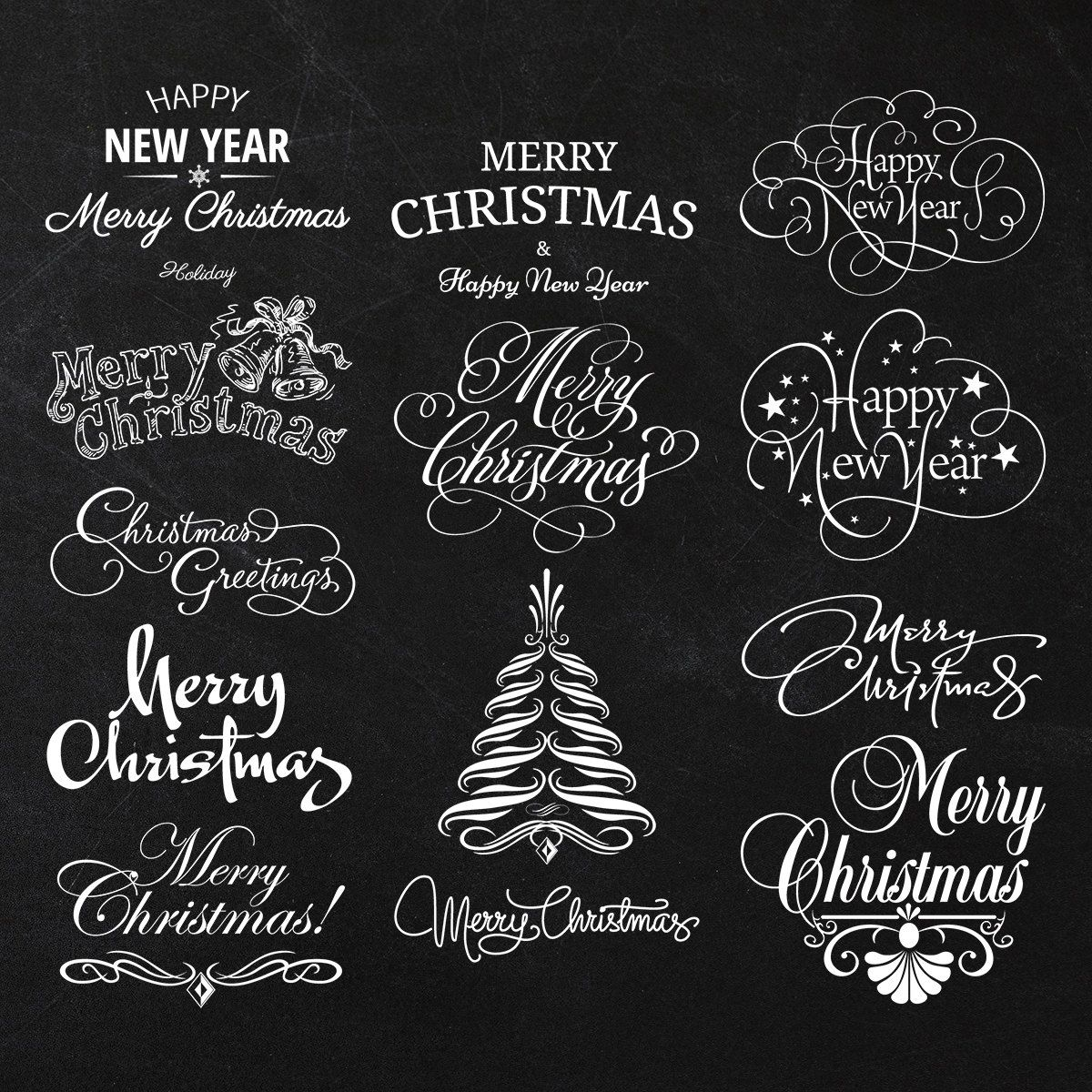 instant download calligraphy merry christmas and happy new year set hand lettering digital clip art card making december 31 2013 at 0203am