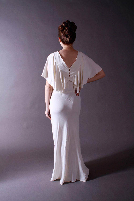 1930s wedding dress  Vintage s Wedding Dress  Amazing Silk Crepe Bias Cut Wedding