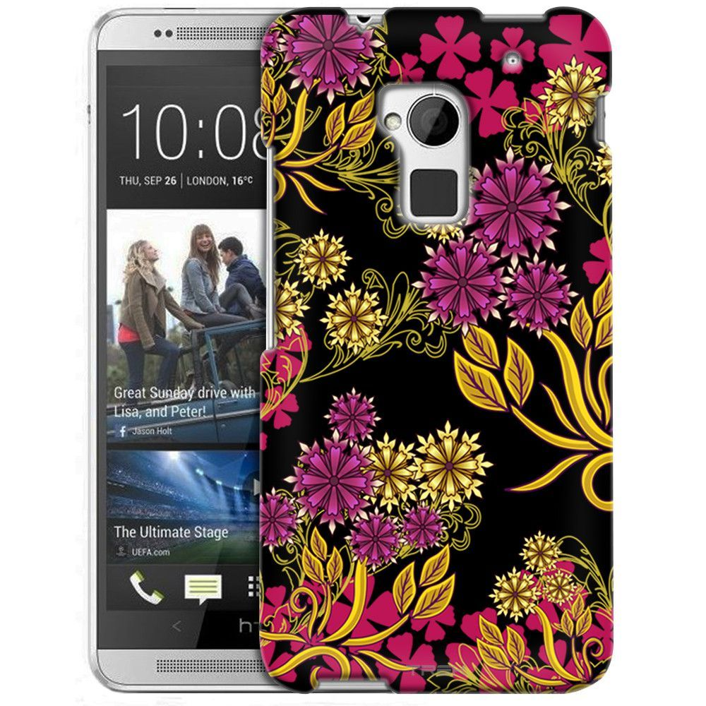 HTC One Max Magenta Flowers and Yellow Vines on Black Slim Case