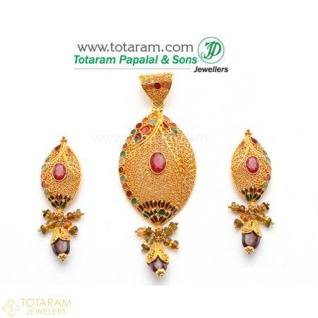 22k gold pendant earring sets 22k gold pendant earring set with ruby garnet 235 gps081 buy aloadofball Gallery
