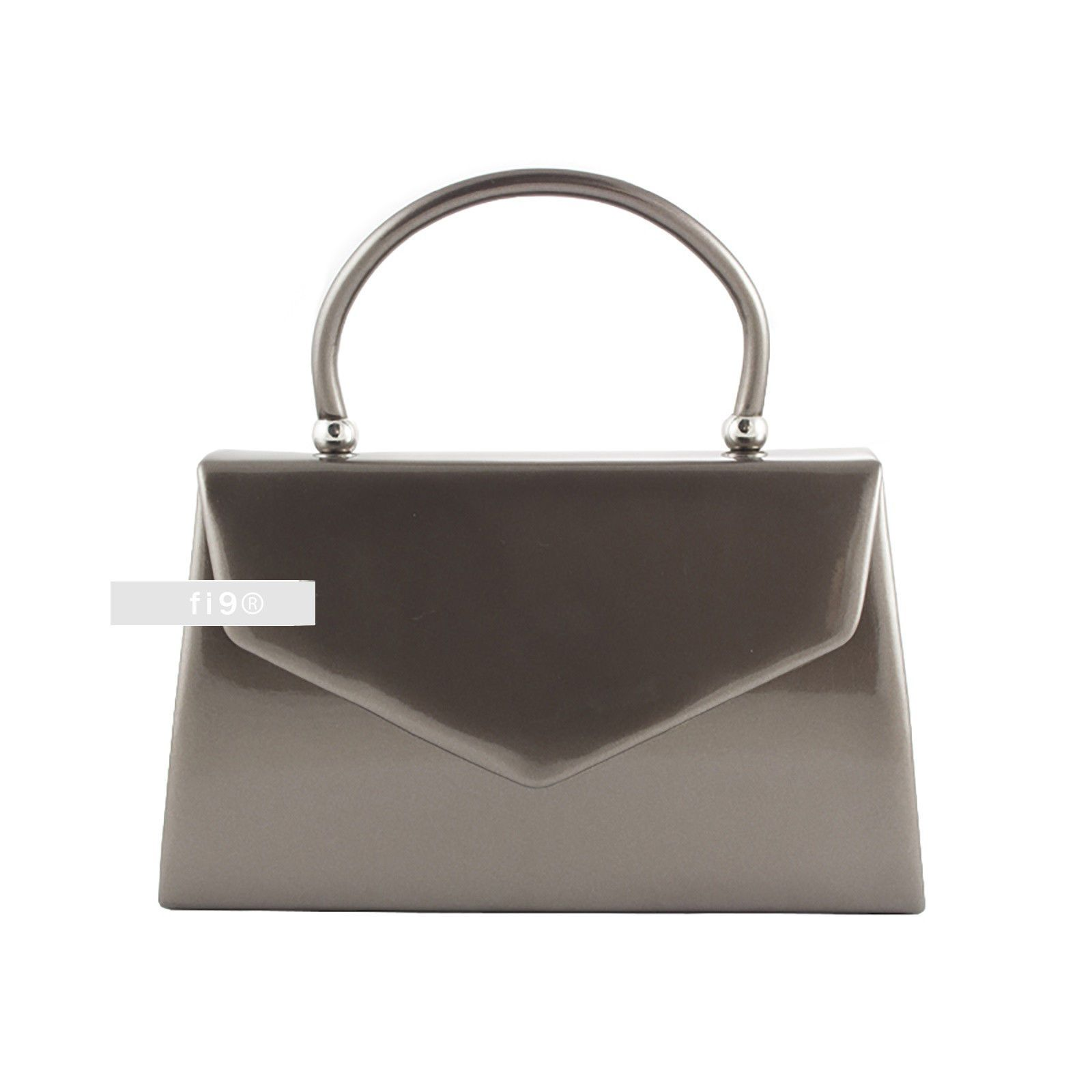 Stylish Pewter Patent Wedding Las Party Evening Clutch Hand Bag Purse