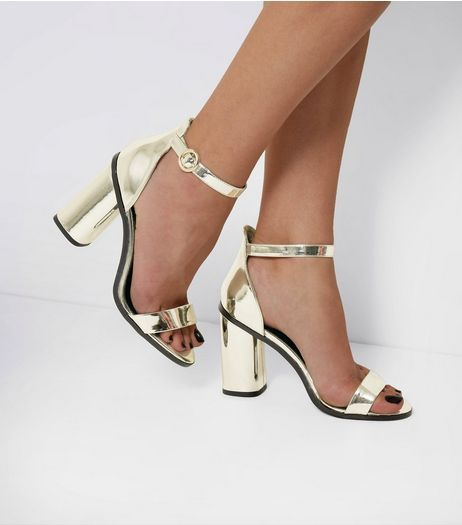 Gold Ankle Strap Block Heel Sandals   New Look