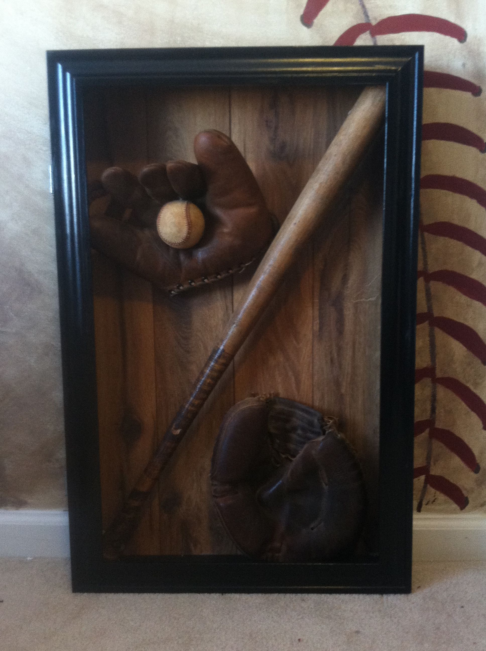 Vintage Baseball Shadow Box Vintage Baseball Nursery