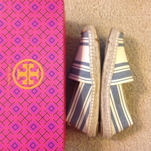 Tory Burch Espadrille Striped elastic espadrille. Awning ivory-blue haven/royal tan. No dust bag. Tory Burch Shoes