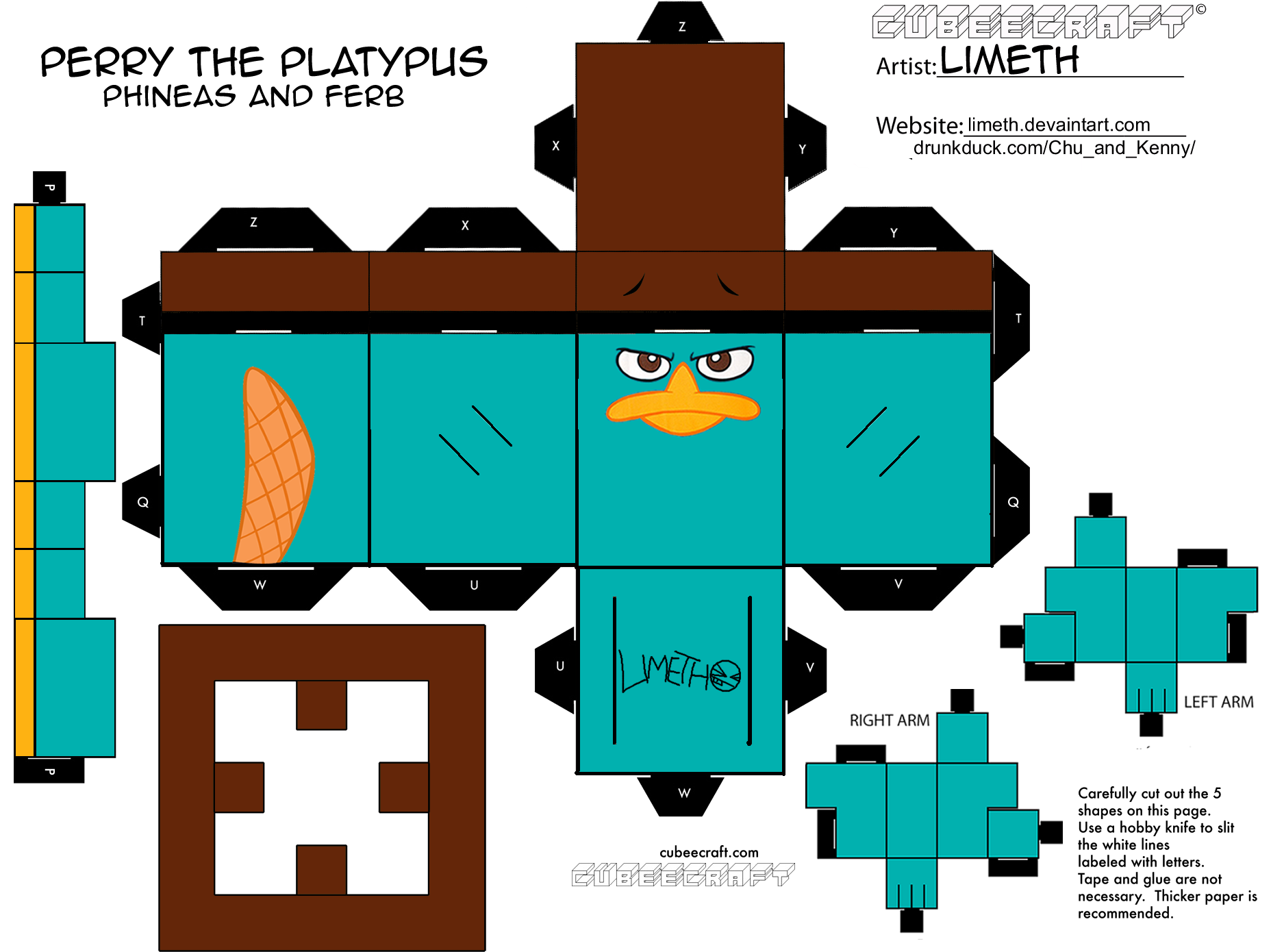 perry the platypus as a cubee platypus craft and birthdays