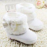 Wish | Newborn Baby Girls Bowknot Fleece Snow Boots Booties Warm Princess Shoes