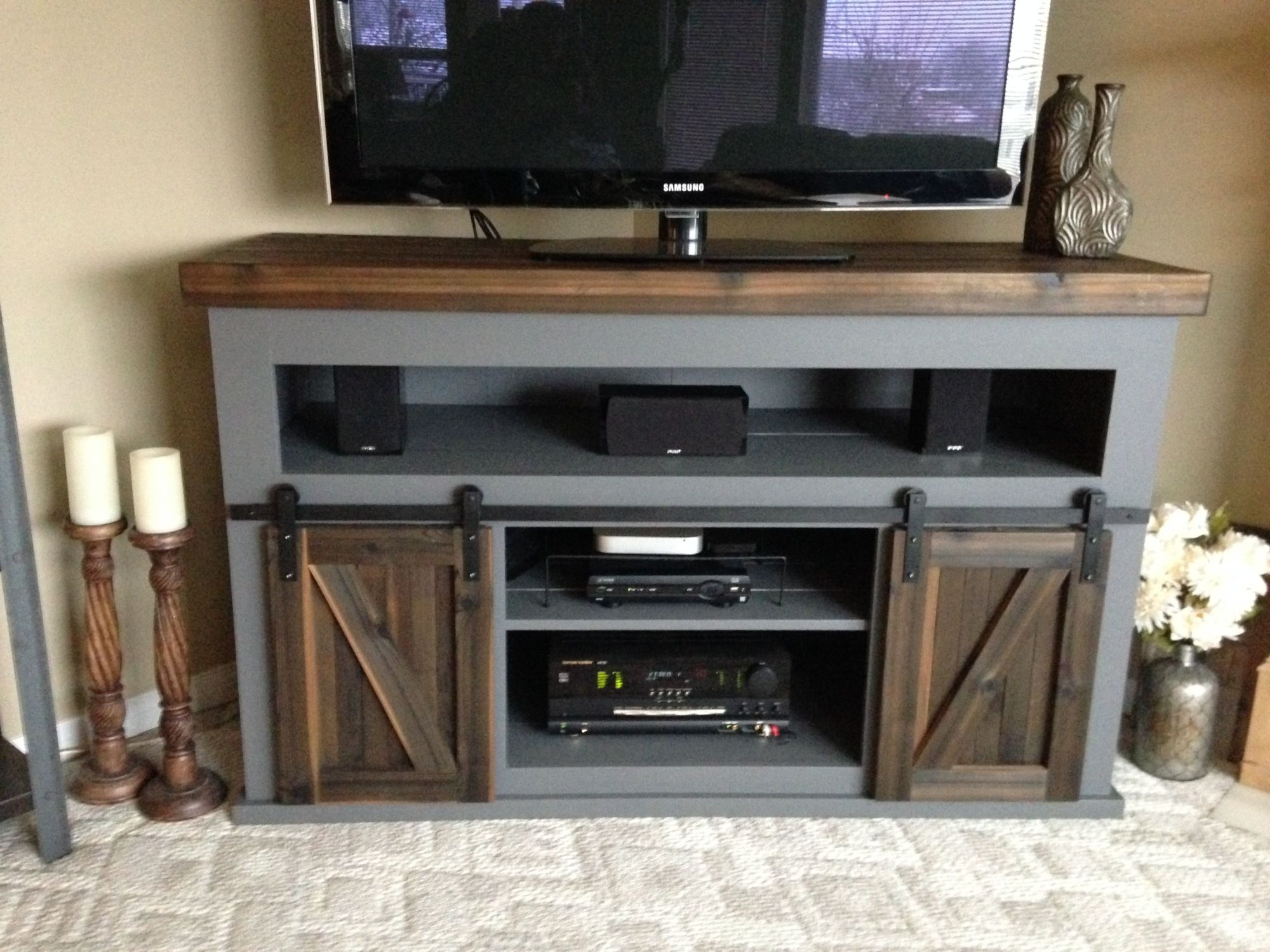 Grandy Sliding Door Console Variation With Open Top Shelf An Option To Put Drawers In Living Room Tv Stand Cool Tv Stands Home Tv Stand