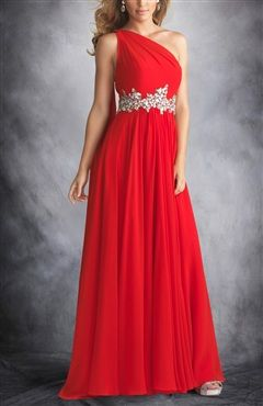 One Shoulder Sash Prom Dress with Beading Belt  $139  #prom #outerinner