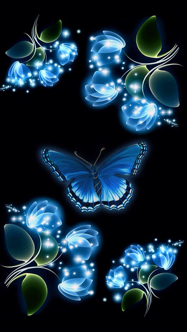 Blue Butterfly Iphone Wallpaper Background Oboi Kartinki Opticheskih Illyuzij Cvetochnye Fony
