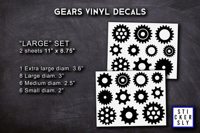 Engineering Gears Set Mechanical Set Vinyl Stickers Gears University College Vinyl Decor Decals Laptop Pc Auto Gears Machine L46