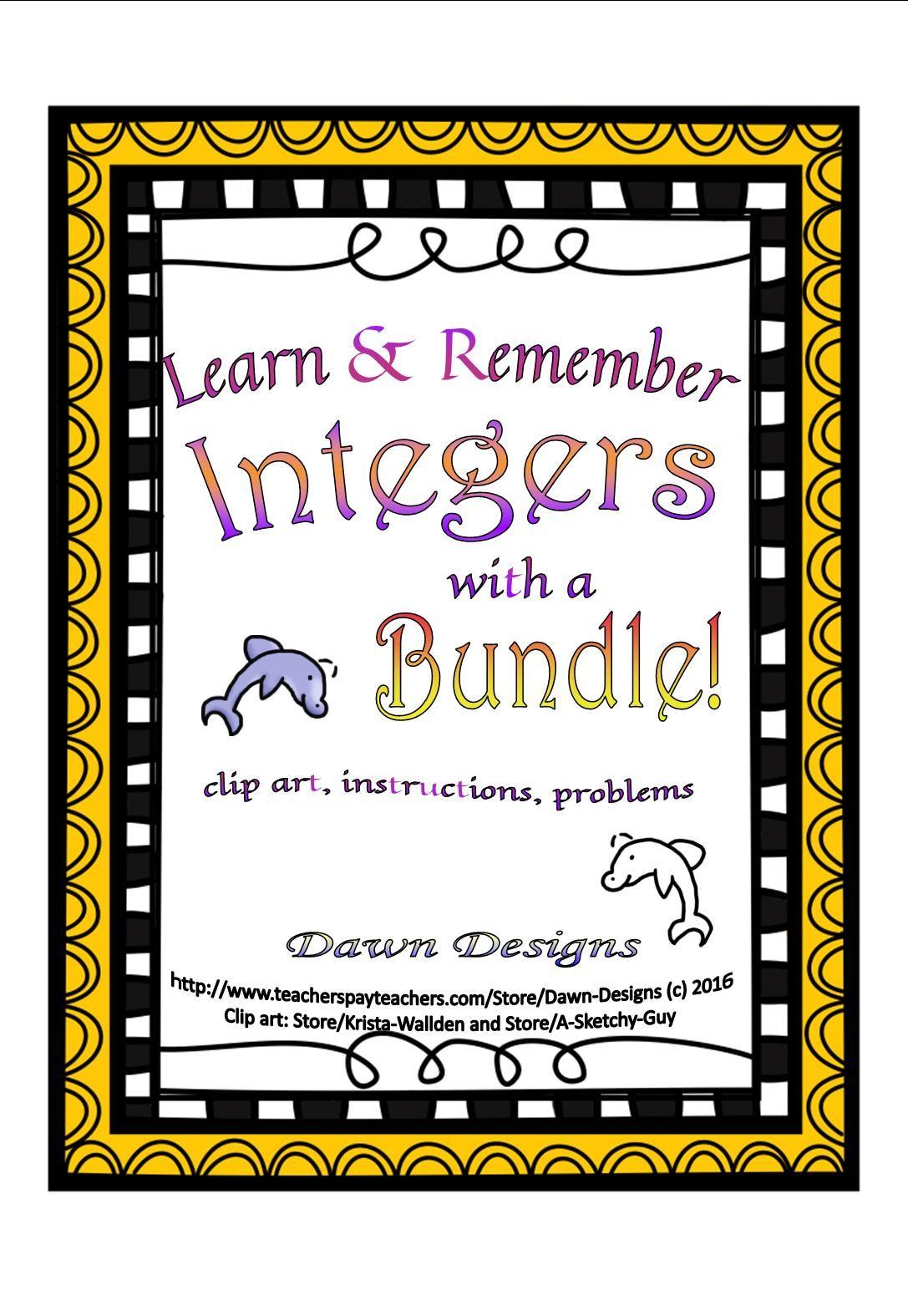 Integer Worksheet Bundle of Operations Integers